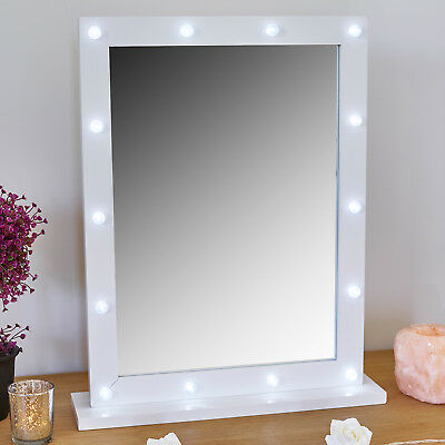 14 White LED Holly Wood Light Dressing Table Vanity Make Up Mirror Bathroom Wall