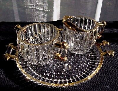 Jeannette Glass Clear Gold Edge National Creamer Sugar Bowl & Under Plate Tray