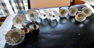 Lot of 9 Antique Victorian Clear Glass Brass  Drawer Pulls Cabinet Knobs