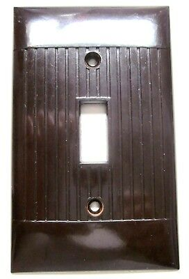 1 Vintage Sierra Ribbed Lines Brown Bakelite Switch Plate Wall Cover Art Deco D1