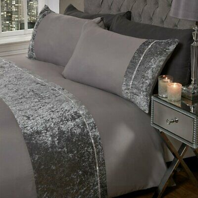 Sienna Lorenza Diamante Crushed Velvet Duvet Set Charcoal Grey Silver Sparkle
