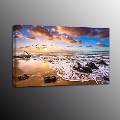 Large Canvas Print Sunset Rise Ocean painting Picture Wall Art for Home Decor