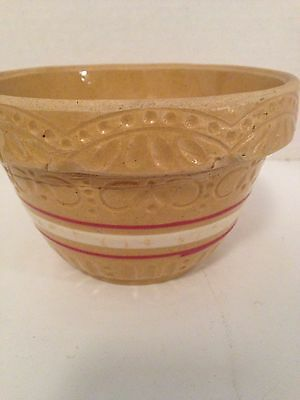 "Robinson Ransbottom 391  KItchen MIxing Nesting Bowl 6"" Yellow Ware Pink Stripes"