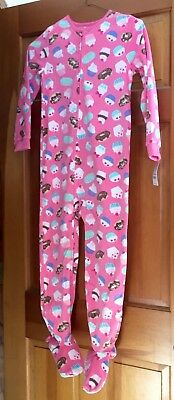 Carters girl one piece footed/feety pajama size 7 NWT pink with cupcakes
