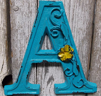 "Blue Cast Iron Wall Letter ""A"" Retro Art 6"" Vintage Style Marquee"