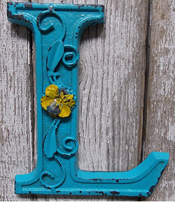 """Blue Cast Iron Wall Letter """"L"""" Retro Art 6"""" Vintage Style Marquee"""