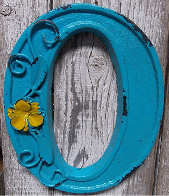 "Blue Cast Iron Wall Letter ""O"" Retro Art 6"" Vintage Style Marquee"