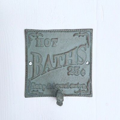 Cast Iron HOT BATHS 25¢ Sign Wall Hook Teal Blue Green Distressed Farmhouse 5""