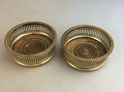 Pair Of Sheffield Plate Wine Coasters