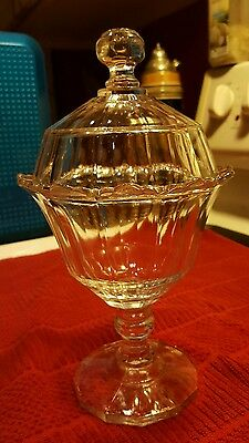 """Vintage ♡ Clear Crystal Glass ♡ Pedestal Round  Covered Candy Nut Dish ♡ 9.5"""""""