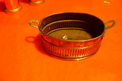 Vintage Oval Copper Bowl Brass Handles Hand Made