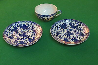 Vintage China Cup with Two Saucers Blue Dragon Design Occupied Japan