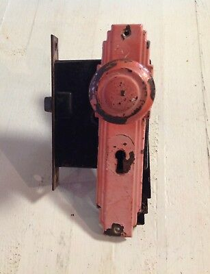 Art Deco Era Door Knobs - Back Plates and Lock Mechanism Chippy Red on 1 Side
