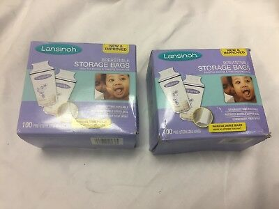 2 Boxes 100ct each Lansinoh Breastmilk Storage Bags Milk Bag NEW 200 Total Lot