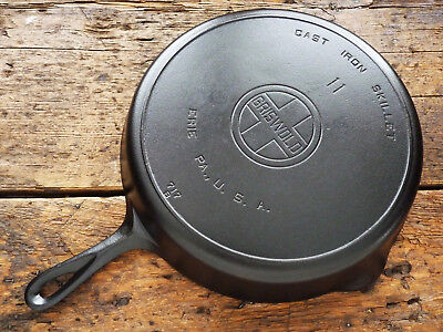 Vintage GRISWOLD Cast Iron SKILLET Frying Pan RESTORED # 11 LARGE BLOCK LOGO