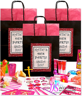 HEN PARTY BAG BLACK with 5 Fillers Pre Filled Personalised Glitter Image Design