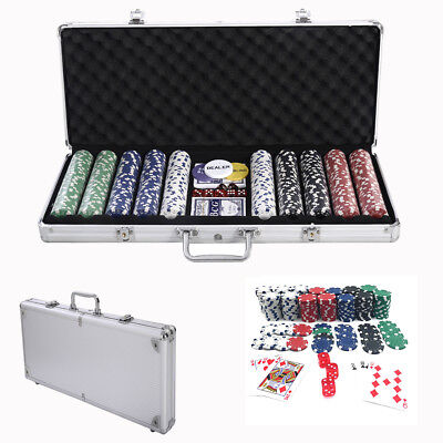 5-Color Hold'em Casino 500 Dice Poker Chips Clay Set Aluminum w/Carry Case Texas