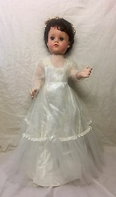 """Vintage 28"""" Pristine Eegee Doll In White Dress, Shoes, & Floral Headband."""