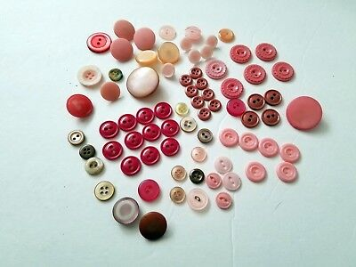 Lot of 75 Funky Vintage Plastic Buttons Lucite Celluloid Pink Several Matching