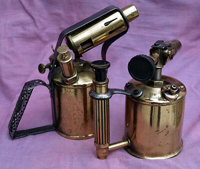 Pair of early 20thC brass blow torches, good display items.