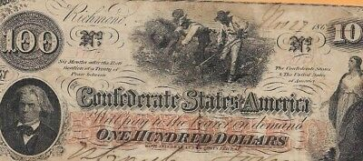 """$100 """"slaves Hoeing"""" (Confederate Note) $100(Rare)""""csa """"slaves Hoeing"""" Rare!"""