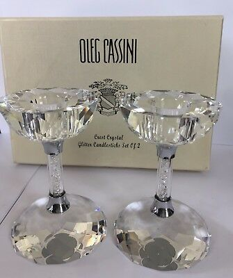 Oleg Cassini Candle Holders Candleholders Crystal Glitter S/2 Clear Diamond New