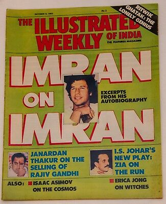 THE ILLUSTRATED WEEKLY OF INDIA Oct 1983 MAGAZINE Imran Khan RITWIK GHATAK