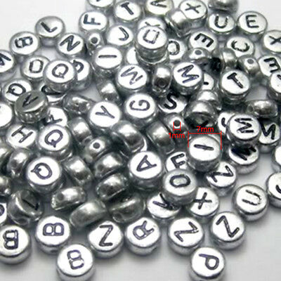 Sell 100 PCS 7 mm Silver Alphabet/Letter Acrylic Spacer Beads single letter A-Z