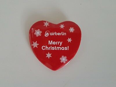 Air Berlin Anstecknadel Anstecker Herz Button Christmas * Rar Selten *