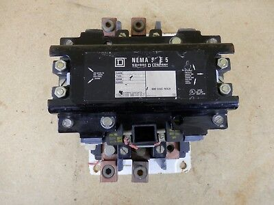 Square-D Nema Size 5 Contactor Starter Class 8502 Type SG0 Series A Black - USED