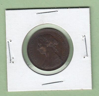 1891 Great Britain 1/2 Penny Coin - EF
