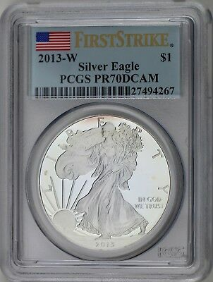2013 W $1 Silver American Eagle 1 Troy oz PCGS PR70DCAM First Strike SUPER TONED
