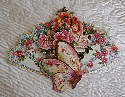 OLD PRINT FACTORY Victorian inspired FAN Greeting Card Children Flowers