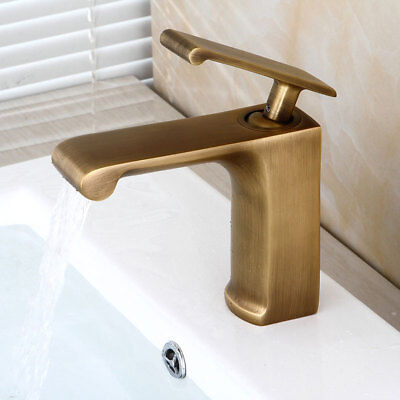 Vintage Brass Bathroom Sink Faucet Waterfall Widespread Hot/Cold Basin Mixer Tap