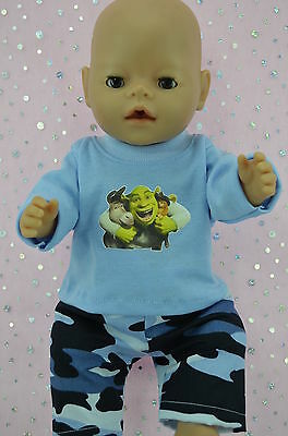 "Play n Wear Doll Clothes To Fit 17"" Baby Born BLUE CAMOUFLAGE PANTS~T-SHIRT"