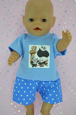 "Play n Wear Doll Clothes To Fit 17"" Baby Born BLUE/STAR SHORTS~T-SHIRT"