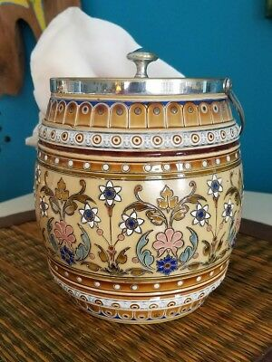 Antique  Mettlach biscuit jar. Beautiful mosaic pattern. Silver top and handle.