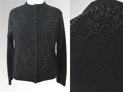 Vintage Cardigan Sweater Beaded | 1960s Black Lambswool | Size L