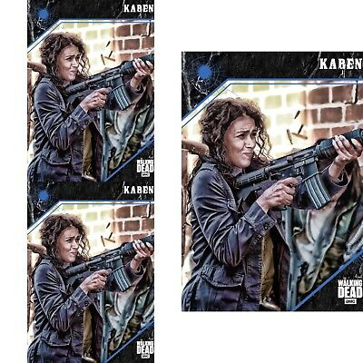 3x 2017 POINT OF IMPACT BLUE KAREN The Walking Dead Trader Digital Card