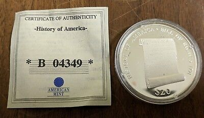 American Mint Liberia $20 .999 Silver Proof Coin History of America Bill Rights