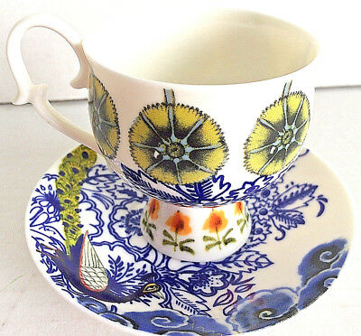Anthropologie  Peacock Small Cup and Saucer Plate Lots of Flowers Great Design