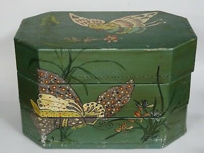 ANTIQUE 19c. CHINESE SIGNED POEM STACKING PAPER MACHE BOX / DOWRY CHEST