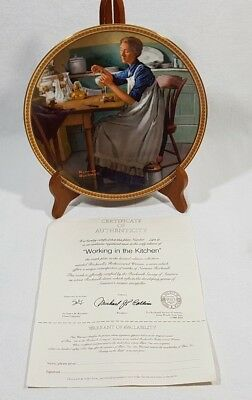 Norman Rockwell Working In The Kitchen Collector Plate #120D Edwin Knowles