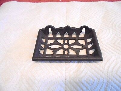 """cast iron wall mount soap dish very ornate 4-1/2"""" long"""