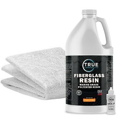 Fiberglass repair kit 1 Gallon Polyester Resin and .75x50x10 fiberglass