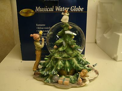 Special Times Musical Water Globe Tree with revolving train in tree w/ box