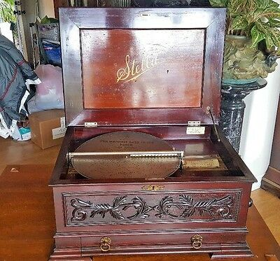 "BEST SOUNDING, HUGE & CARVED 17"" STELLA DISC MUSIC BOX  24 DISCS IN DRAWER c1890"