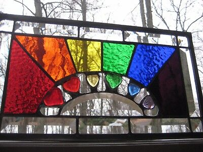 Rainbow heart stained glass panel with bevels NICE!!