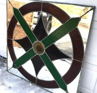 Vintage Leaded Stained Glass Mirror Large Decorative Color Ornate HUGE 48 X 49