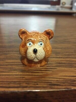 Spoontiques Teddy Bear Hand Painted Pewter Thimble Rare 1980